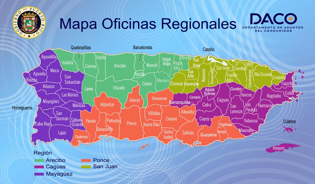 Mapa Oficinas Regionales DACO